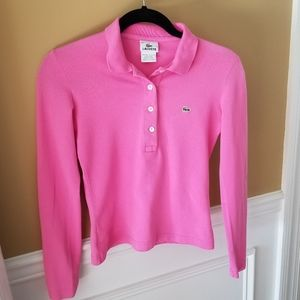 Lacoste Long Sleeve Hot Pink Shirt in Sz. 36